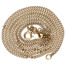 Yellow gold curb link necklace, 14 kt - 57 cm