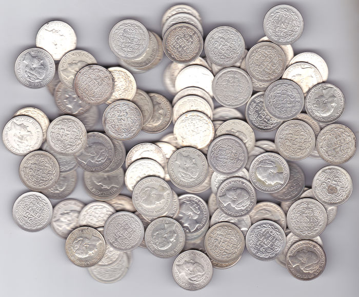 The Netherlands - 25 cents up to 1944, Wilhelmina (100 pieces) - silver
