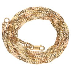 Tri-coloured gold curb link necklace