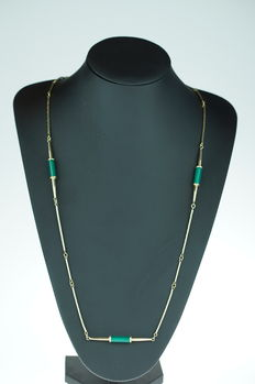 """14 karat gold women's necklace, exclusive necklace, type """"Chanel"""" - approx. 82 cm"""