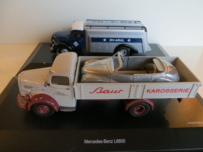 Schuco - Scale 1/43 - Lot with Mercedes L6600 and Magirus S6500