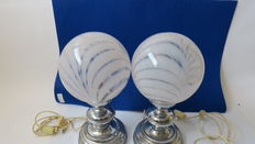 Vintage table lamps with balloons in silver colour