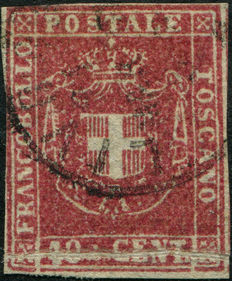 Tuscany 1860 – Provisional Government 40 scarlet/carmine – Natural paper fold – Sassone no. 21a