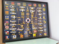 Artwork with anchors, knots and nautical signalling