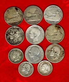 Spain – 8 silver coins, 1 peseta Provisional Government , 1869; Spain, 1870 (2), Alfonso XII (1876 and 1883) and AIfonso XIII, 1901 (2). Three coins of 50 cents (1880, 1904 and 1926). (11)