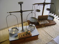 2 Pharmacists scales with weights.