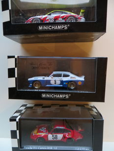 Minichamps - Scale 1/43 - Lot with 3 models: 2 x Porsche 911 and 1 x Ford Capri