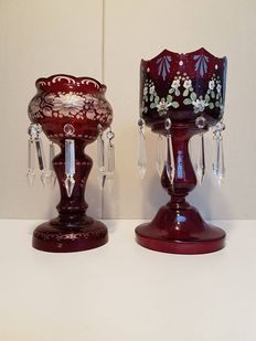 Two Bohemian crystal decorative bowls with crystal pendants