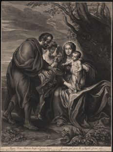 Anthony Van Dyck (1599-1641) by Schelte Adamsz. Bolswert (1586 - 1659) - The Holy Family - Ca 1630/35