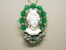 Antique emerald and baby pearl pendant/brooch