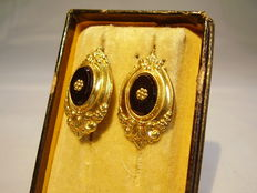 Victorian earrings with black onyx