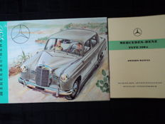 2 Mercedes-Benz printing works type 180: Brochure and owners manual - 92x44 cm - 1950s