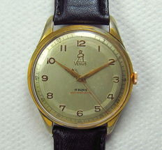 Venus Manual Winding Mens' Wristwatch-Oversized Case-Gold Plated-Swiss Made-Vintage 1950s