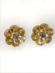 Ear studs with aquamarine - Art Nouveau, around 1950