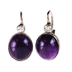 Amethyst, Diamond, 14k Gold Earrings