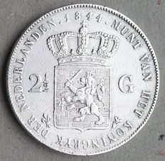 Netherlands – 2½ guilders 1844, Willem II – silver