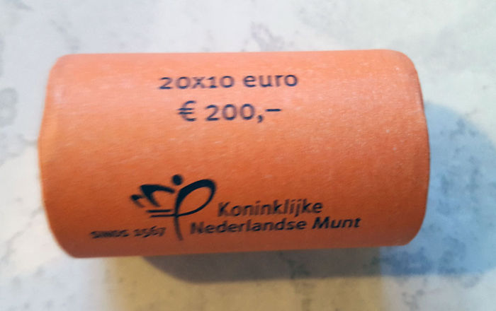 "The Netherlands - 10 Euros 2013 ""King's Coin"" (20 pieces) in coin roll."