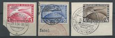 German Empire/Reich – Airmail Graf Zeppelin Chicagofahrt on letter fragments – Michel 496/498