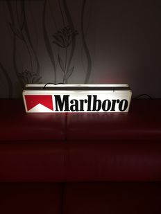 Two sided advertising lightbox Marlboro lamp 80s Vintage loft from USA - Texas bar