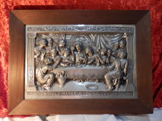 Antique The Last Supper Metal Artwork in Tin, with Mahogany Wood Frame; from the 1940's, Portugal