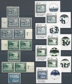 German Reich 1944 – Selection plate errors – Michel 889II/III, 889IV, 891I/II/III, 892I