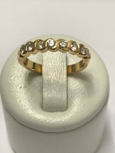 American wedding ring in 18 kt yellow gold with 0.79 ct Diamonds, Top Wesselton - Size 53