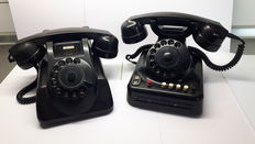 2 bakelite PTT phones 1 business phone and 1 home phone - 1950s Netherlands