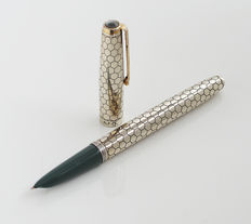 """PARKER ' 51: fountain pen: silver plated Special Edition with ' honey Council decor """", gold-plated clip"""