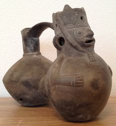 Pre-Columbian whistling ceramic - Chimu culture Peru - 19 cm