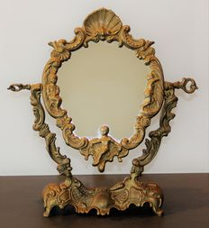 Psyche in bronze, antique mirror with stand