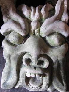 Mascaron carved in white Syracuse stone - Italy - late 19th century