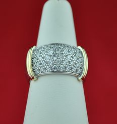 Pavé Radiant cut Diamond (2.00ct GH/SI) & Yellow and White 18K/750 Gold Ring - E.U Size 56 -Recently repolished