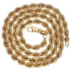 14 kt yellow gold rope link necklace – Length:  45 cm