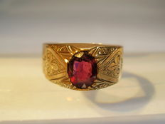 Antique Victorian gold ring with facetted garnet