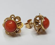 18kt yellow gold earrings with red coral in rose settings, ca 1960
