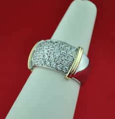 Pavé Diamonds 38 radiant cut (+/-2.00ct GH Color/SI Purity) & White/Yellow 18K/750 Gold Ring - E.U Size 56/57*