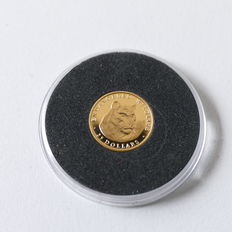 """The Cook Islands - the smallest gold coins in the world """"Tiger"""" - 1990"""