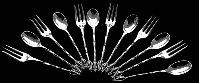 Set of 6 silver cake forks and 6 spoons, Van Kempen & Begeer, Netherlands, 20th century
