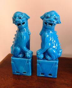 Antique Pair Of Chinese Turquoise Blue Glaze Foo Dogs - China - second half 20th century