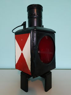 Industrial metal railway signal light - approx. 1915 - complete