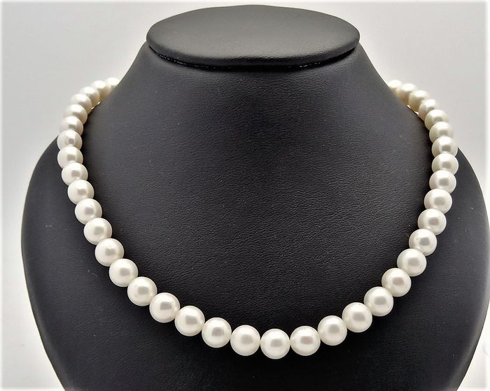 Fresh water pearl necklace - 1 row - pearl size approx. 7.5 mm - 585 gold clasp -