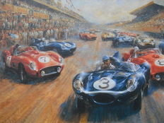 Art print - Jaguar Type D winning 24 Heures du Mans 1956 oil painting on canvas