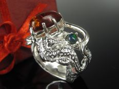 """Seahorse"" silver opal amber unique ring - handmade - 1999"