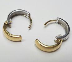 18k yellow- and white gold earrings