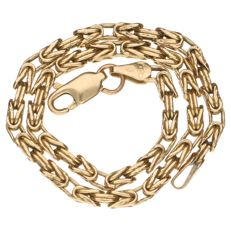 Yellow gold Byzantine link necklace.