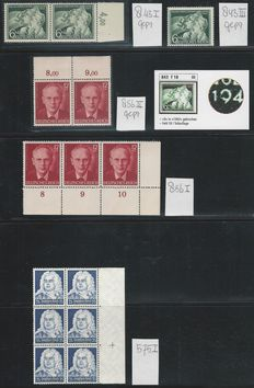 German Reich 1935/1944 - Selection plate errors - Michel 575I, 843I, 843III, 856I, 856II