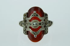 Silver women's ring set with marcasites and carnelian, Art Deco style