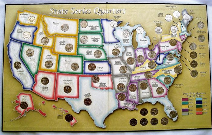 United States - 25 Cents 1999/2008 'State Quarters' (56 ... on united states quarter collection, united states quarter coin, quarter bubble map, state quarters display map, europe quarter map, united states quarter book, state series quarters collector map, united states quarters list, united states quarter diagram, new orleans quarter map,