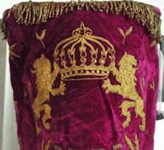 "An 83 year old Torah Mantle ""torah cover"", was given on the 100 year of the ""Chevrah Kadisha""-"" burial holy society"", Very fair state for an old and used velvet Mantle."