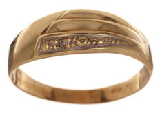 Gold ring set with 0.005 ct octagon cut diamond